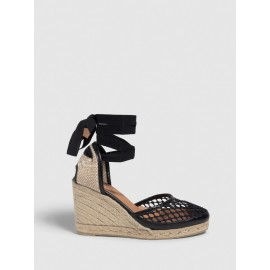 Carola. Wedge espadrille made of cotton and leather 9cm