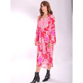 SILENCED LONG SLEEVE PAISLEY DRESS IN PINK AND RED