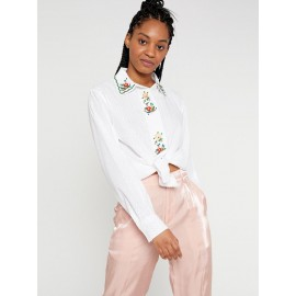 LONG-SLEEVE SHIRT WITH CONTRASTING FLORAL EMBROIDERY