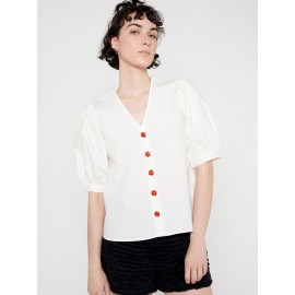 WHITE SHORT-SLEEVE SHORT WITH CONTRASTING BUTTONS