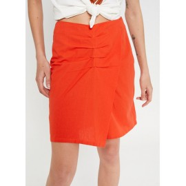 RED WRAP-EFFECT MINI SKIRT WITH PLEATS