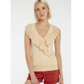TOP MANCHES COURTES AVEC BRODERIES ANGLAISES