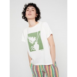 COTTON T-SHIRT WITH GREEN AFRICAN-INSPIRED GRAPHIC