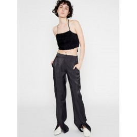 BLACK SHINY-FABRIC STRAIGHT-LEG TROUSERS WITH FRONT SPLIT HEMS