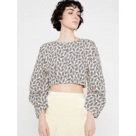 BLACK PUFFED STRUCTURED CROP TOP WITH PLEATS