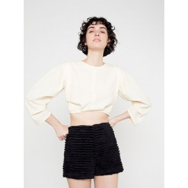PUFFED STRUCTURED CROP TOP WITH PLEATS