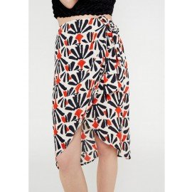 TRIBAL PRINT WRAP SKIRT WITH SIDE DRAPING